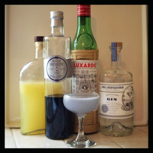 Original recipe Aviation cocktail and its ingredients