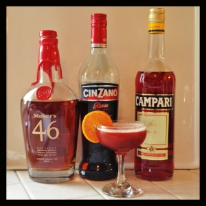 Bourbon Boulevardier cocktail and its ingredients