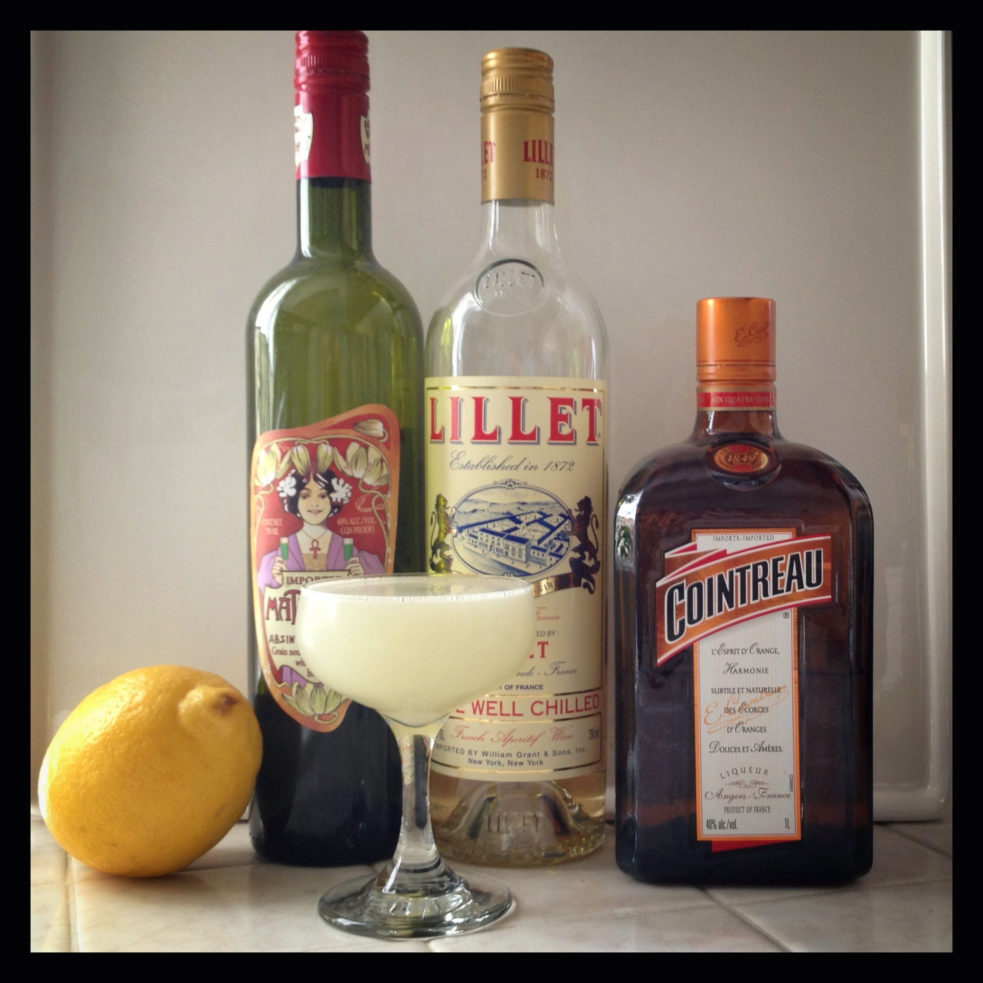 Corpse Reviver #2 and its ingredients, save gin